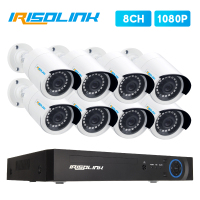 Irisolink 8CH CCTV camera System 8*1080P IR IP66 security surveillance cameras H.265 5in1 DVR outdoor Video Surveillance System