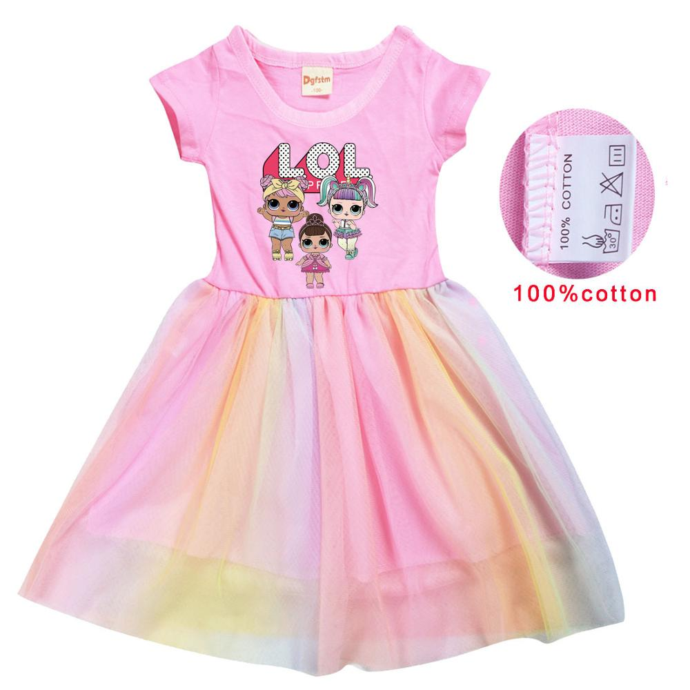 LoL Surprise Summer Girl Kid T Shirt Colour Gauze Pleated Princess Patchwork Dress Cute Cartoon Printed Doll Baby Child Clothes 2