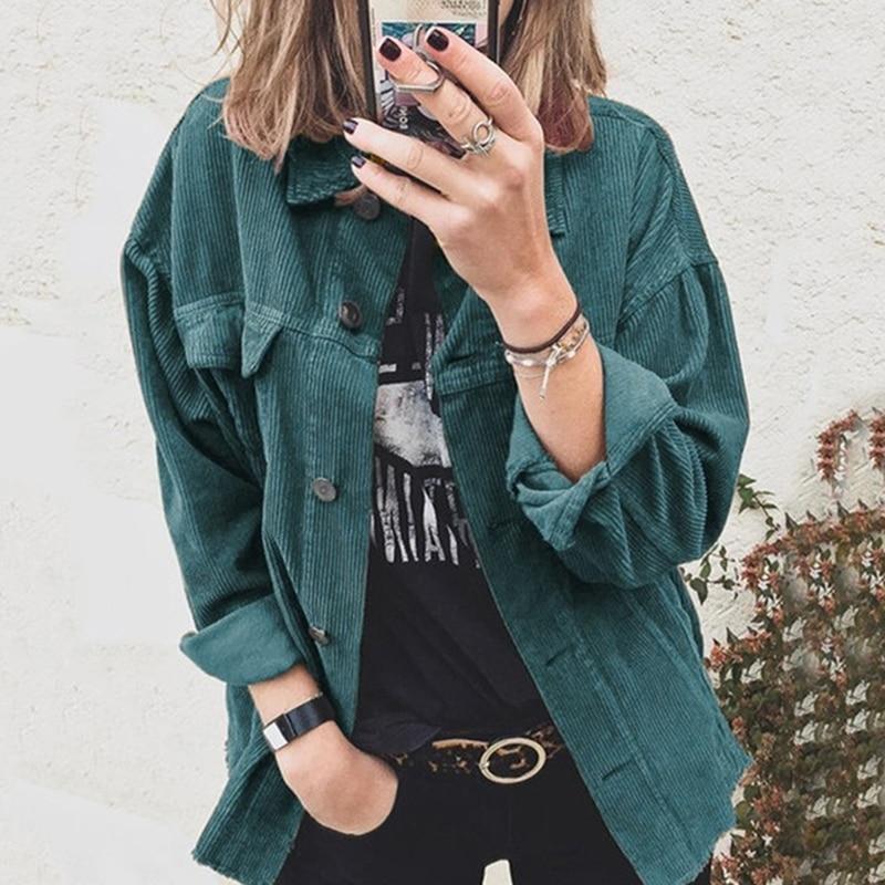Corduroy Blouse Women Thick Warm Women's Shirt Ladies Casual Button Blouse Feminina Women Shirts With Pocket Blouse