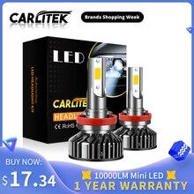 CARLitek 10000LM H7 H11 HB3 HB4 H 4 רכב פנס אוטומטי מנורות Led 12v COB שבב 4300K 5000K 6000K 8000K הנורה מיני Led פנס