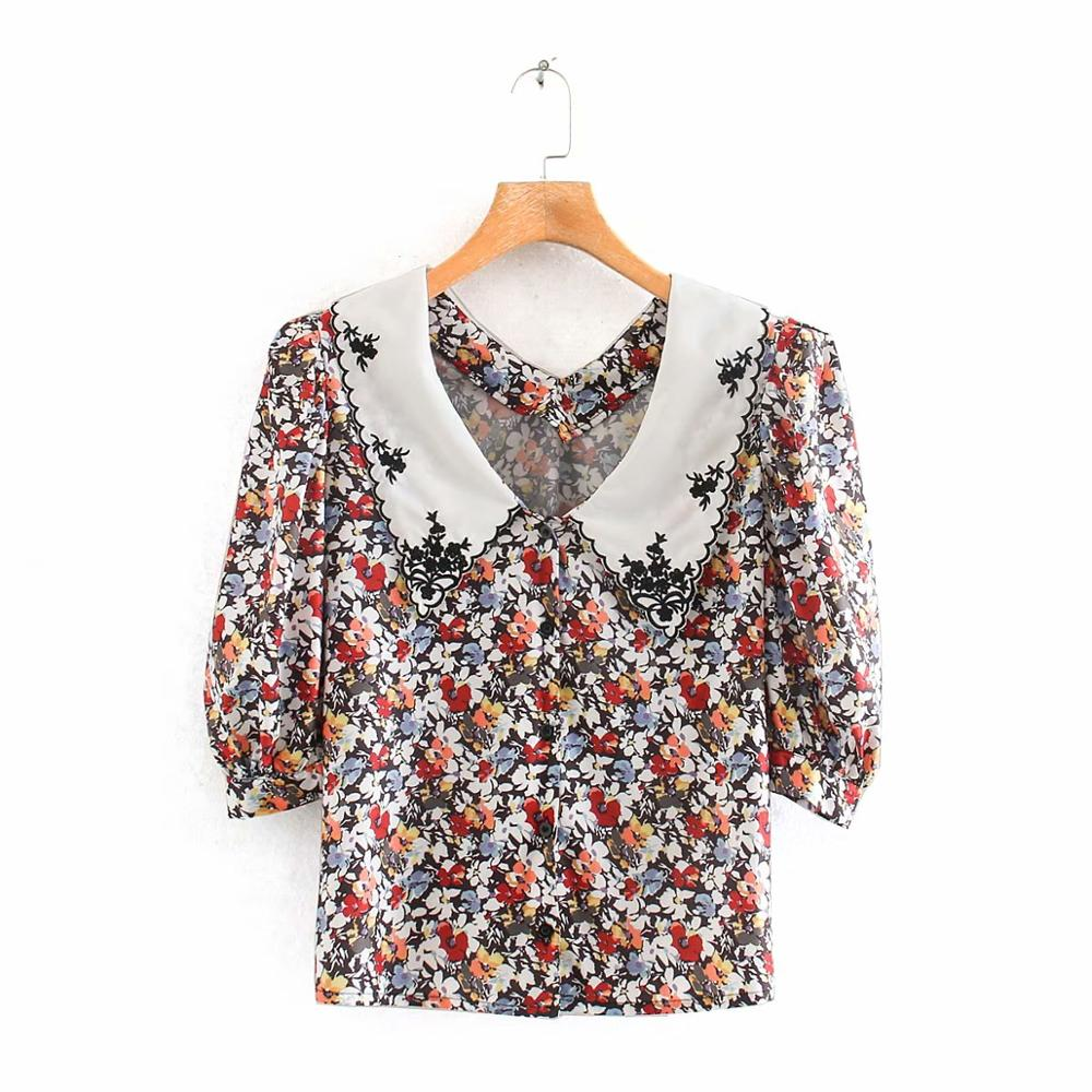 New 2020 Women Sweet Peter Pan Collar Patchwork Printing Casual Blouse Ladies Three Quarter Sleeve Shirts Chic Blusa Tops LS6561