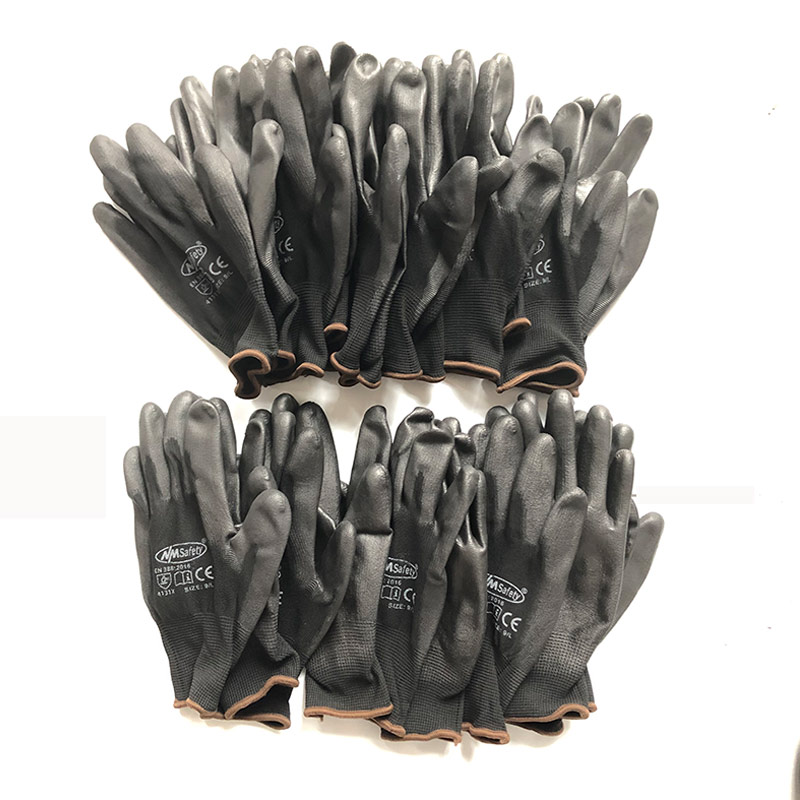 12 Pairs Industrial Protection Work Safety Gloves Black Pu Nylon Cotton Glove With Garden NMSafety Brand All Sizes