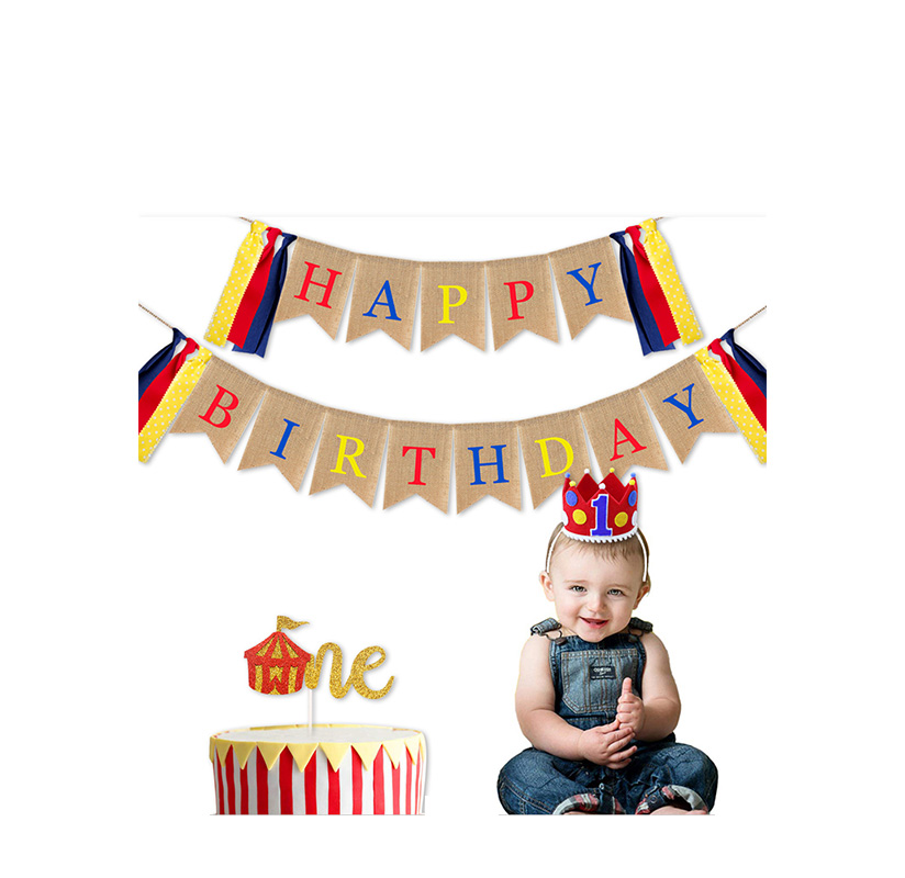 Circus Theme Birthday Party Decoration Set Birthday Hat Cake Insert Kamura Flag Baby Supplies