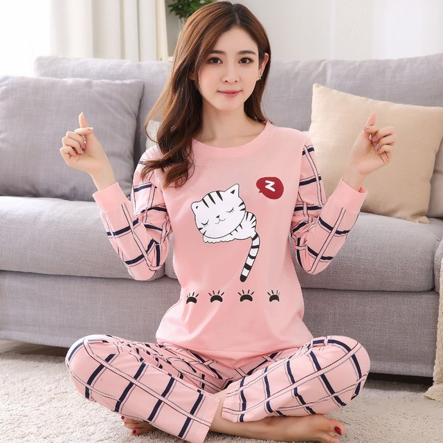 Spring And Autumn Korean Version Of The Long Sleeve Sweet Cute Cartoon Dot Pajamas Female Loose Milk Leisure Clothing Suit