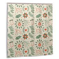 CHARM HOME Christmas Flowers Plastic Shower Curtain 66x72 In Customized Bathroom Decorative Waterproof Polyester