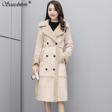 Woman Winter Fashion Shearling Coats Faux Suede Leather Jackets Slim Fit Coat Long Faux Lambs Wool Double-breasted Thicken Coat цена 2017