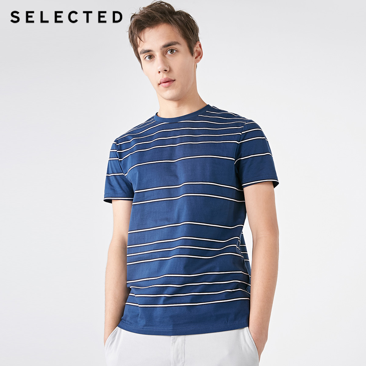 SELECTED Men's 100% Cotton Striped Business Casual Short-sleeved T-shirt S | 419101523