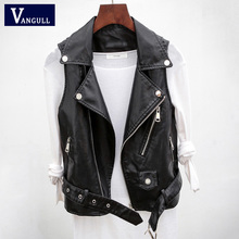 Vangull PU Leather Waistcoat Women Motorcycle Vest coat 2020 New High Quality sleeveless Vests large size 4xl Tops