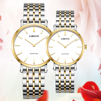 LOBINNI Japan Quartz Movement Lovers Watch Luxury Brand Stainless Steel Watchband Couples Wristwatch Woman Man Gift Waterproof