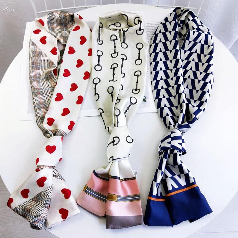 AOMU Korea Summer Fashion Long Scarf Ribbon Headband Head Neck Scarf Elegant Women's Heart Shape Head Neck Satin Scarf