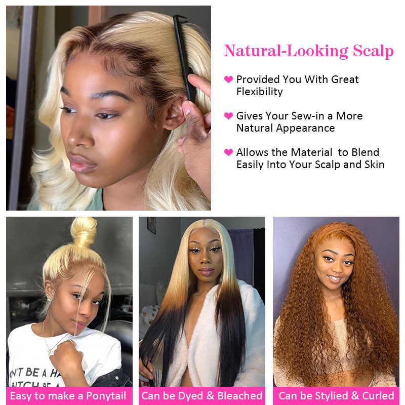 613 pakiet z przodu miód blond kolorowe 13x6 koronka Frontal z prosto doczepy z ludzkich włosów 2 3 4 brazylijskie pasemka włosów