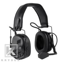 Тактическая гарнитура KRYDEX с микрофоном Peltor, черные съемные электронные наушники с шумоподавлением