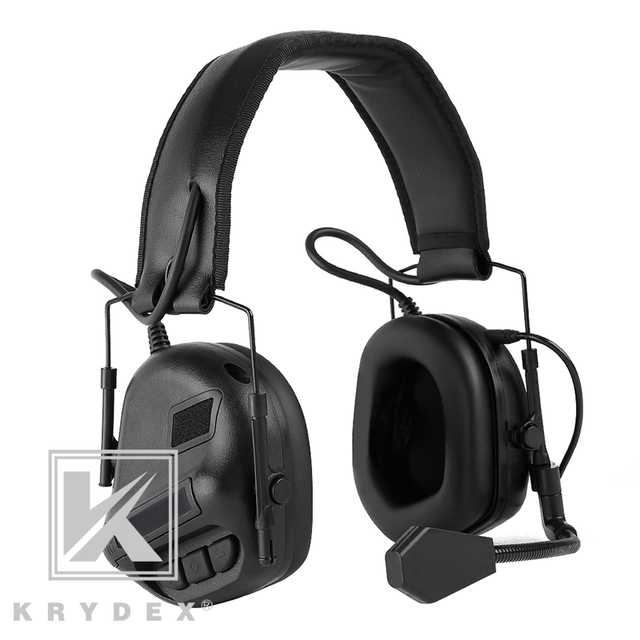 KRYDEX Tactical Headset With Micphone Peltor Black Noise Reduction Sound Pick Up Communication Electronic Detachable Headphone
