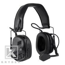 KRYDEX taktik kulaklık mikrofon ile Peltor siyah gürültü azaltma ses Pick Up iletişim elektronik ayrılabilir kulaklık