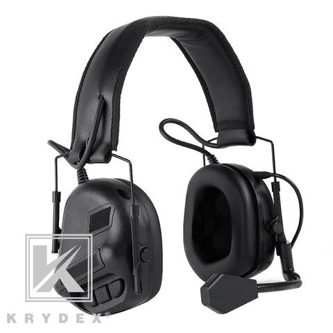 krydex fone de ouvido tatico com micphone peltor preto reducao ruido som pegar comunicacao eletronico