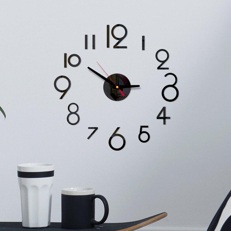3D DIY большие настенные часы современный дизайн бесшумные цифровые акриловые зеркальные самоклеющиеся настенные часы для гостиной домашний...