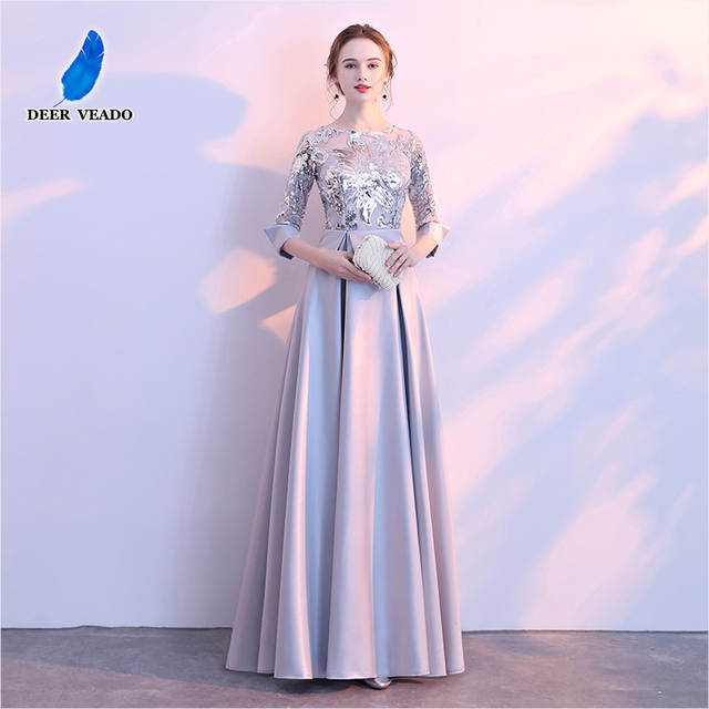 DEERVEADO A Line Sequin Golden Evening Dress Long Prom Party Dresses Evening Gown Formal Dress Women Elegant Robe De Soiree M254 4
