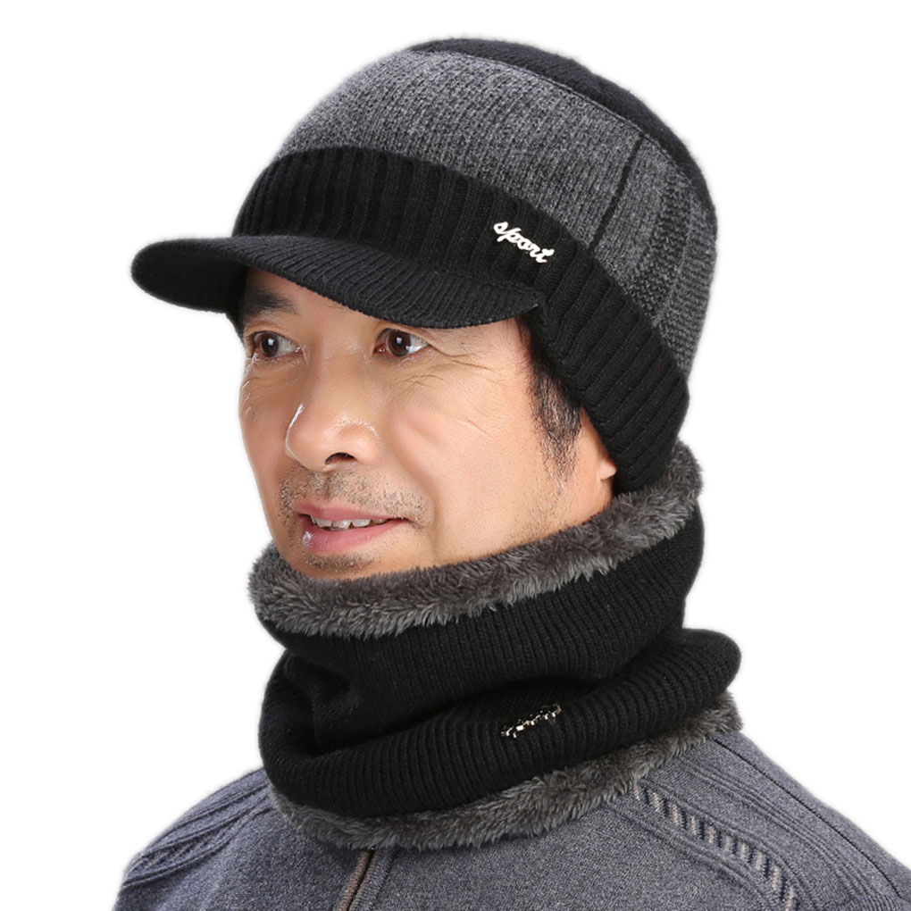 2pcs Winter Wool Scarf Caps Set Mens Winter Hats For Men Beanie Hat Winter Cap Men Women Balaclava Mask Bonnet Knitted Hat