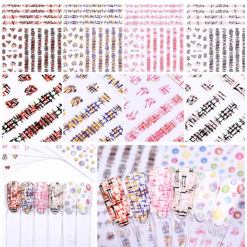1 arkusz kolorowe naklejki transferu 3D naklejki do paznokci mieszane wzory samoprzylepne pasek kształt Nail Art DIY projekt dekoracje