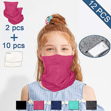 Scarf Uv-Protection Headband Dust-Mask Face Neck Hiking Magic Sport Kids -Bl2 2pc FILTER-PADS
