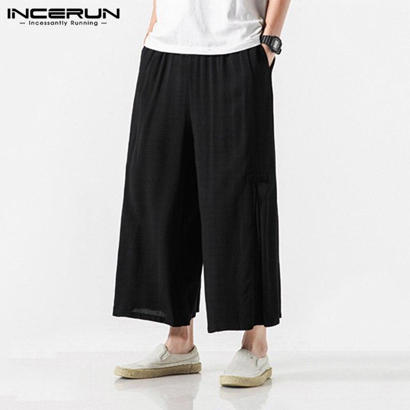 Hot Sale Men's Cotton Linen Breathe Fabric Loose Casual Pants Large Size Wide Leg Pant Male Harem Straight Trousers 5XL INCERUN
