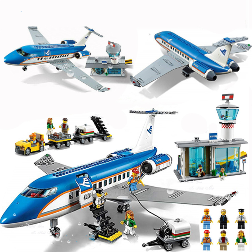 02043 Lepining City Plane International Airport Airbus Aircraft Airplane Building Blocks Sets Figures Bricks Toys For Children