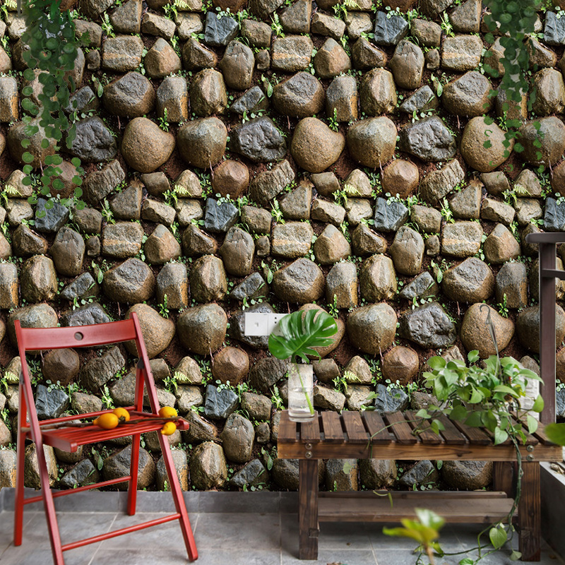 1 Roll (45cmx10m) Waterproof Vintage 3D Stone Effect Wallpaper Roll Modern Rustic Realistic Faux Stone PVC Wall Paper Home Decor