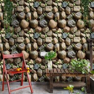 Image 1 - Efeito de pedra à prova dwaterproof água do vintage 3d papel parede rolo moderno rústico realista falso textura pedra vinil pvc decoração da sua casa
