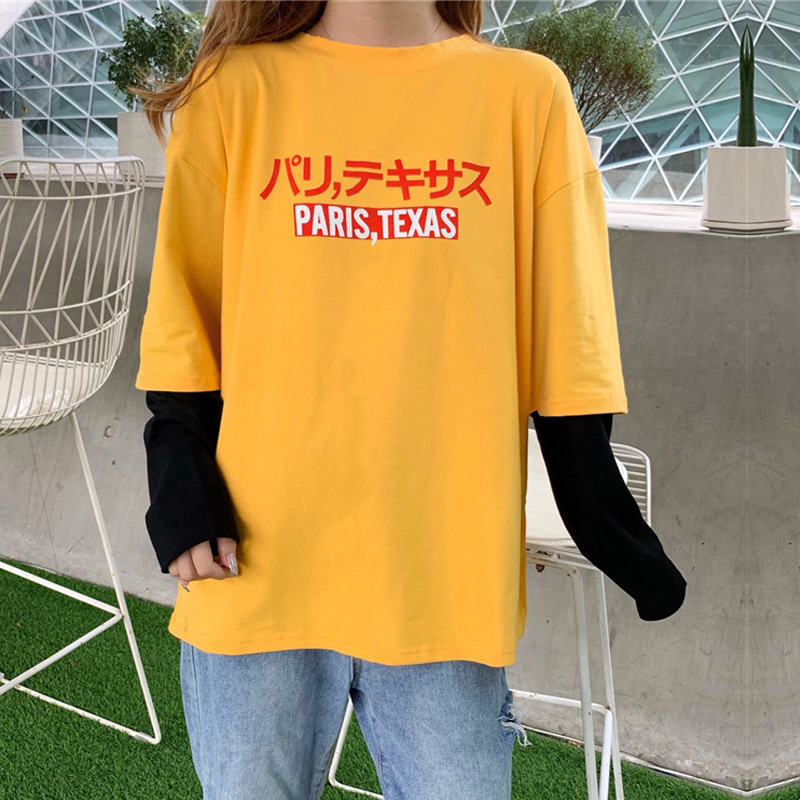 Harajuku Casual Letter Print T-shirts Female Autumn Women Long Sleeve T Shirt Oversize Tshirt Loose Hip Hop Streetwear Tee Tops