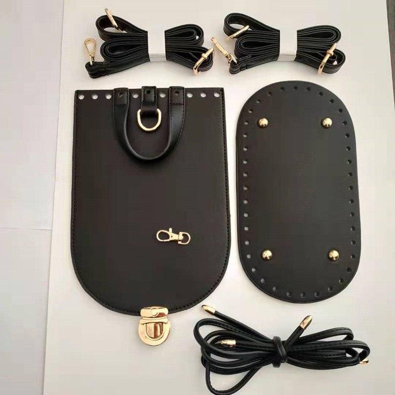 1 Set Handmade Shoulder Bag Strap+Bag Bottoms Set PU leather Bag Bottom With Hardware and Handbag Straps for DIY Bag Accessories