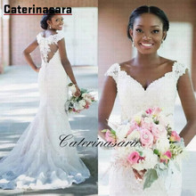 цена на Sweetheart Button Back Mermaid Wedding Dress Sweep Train Lace Applique Bridal Gown