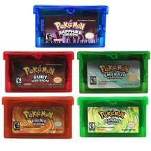 Série de cartões de jogo pokemon ruby firered safira esmeralda cartucho de vídeo jogo console cartão inglês língua ndsl gb gbc gbm gba sp