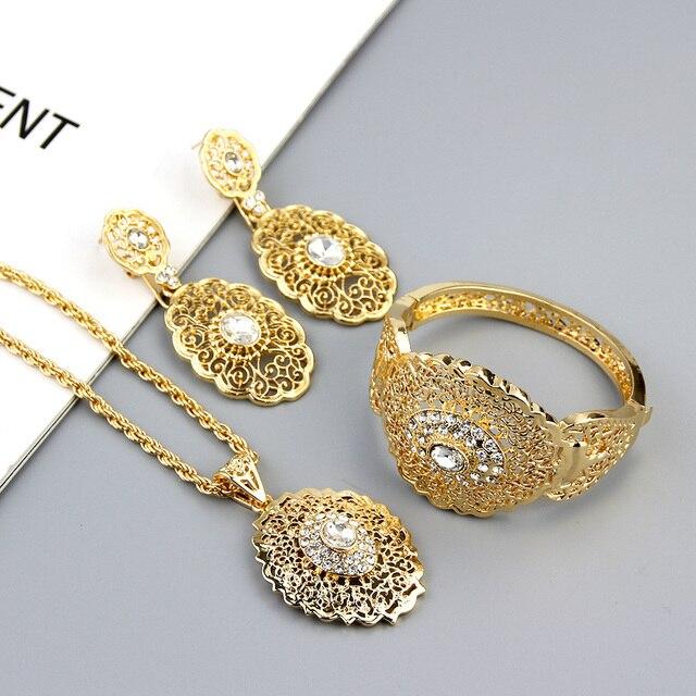 Sunspicems-Conjunto de joyería de boda Chic marroquí, pendientes de gota de Color dorado, brazalete, colgante, collar, regalo de Metal hueco árabe 2
