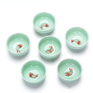 Chinese Tea Cups Porcelain Celadon Fish Teacup Set Loose Leaf Teapot Drinkware Oolong Tea Ceramic China Kung Fu Tea Sets