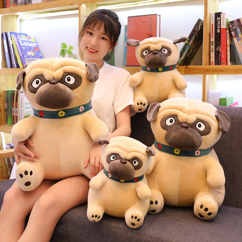 Simulation Dog Plush Pug Toys Soft Lifelike Stuffed Animals Shar Pei Pug Plush Pillow Dolls Kids Children Birthday Present 55cm