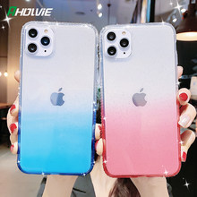 Para iPhone 11 Pro Max X XR XS 6 6s 7 8 Plus Glitter Rainbow color de degradado transparente funda para teléfono funda trasera de silicona suave(China)