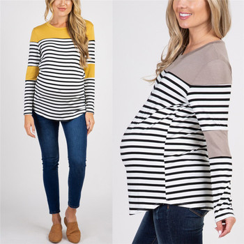 Cotton Maternity O-Neck Long Sleeve T-Shirts Blouses 2020 Spring Autumn Pregnant Women Striped Tops Tee Shirts Plus Size 5XL cutout neck bell sleeve striped tee