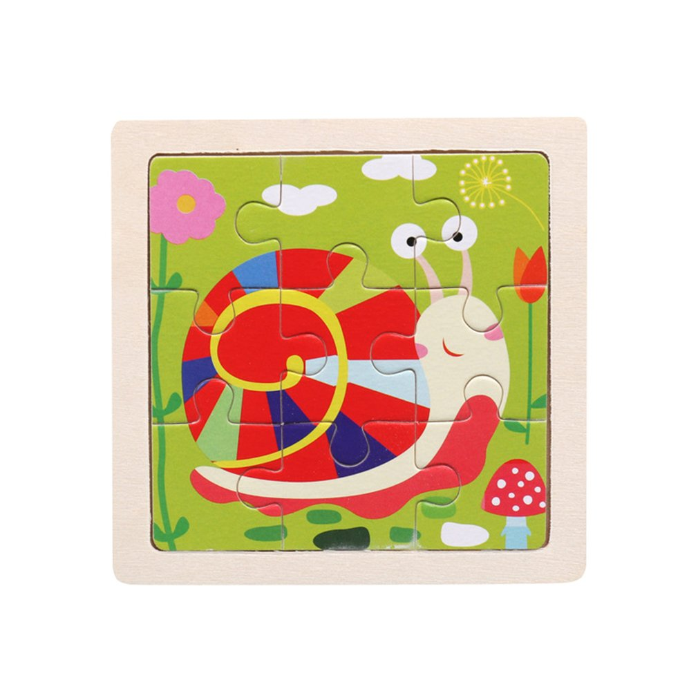 Wooden Small Puzzle Children's Puzzle 9 Pieces Of Woody Forest Animal Shape Story Puzzle/Traffic Puzzles/Idiom Puzzle Toy Puzzle