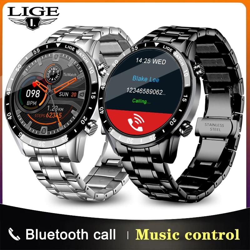 LIGE-reloj inteligente para hombre, accesorio de pulsera resistente al agua IP68 con Bluetooth y pantalla completamente táctil, perfecto para deporte, Android e ios, novedad de 2020