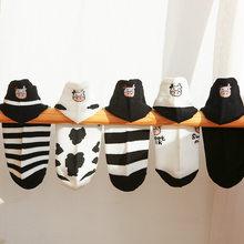 Instime 1 Pair Designer Black and White Socks Women Cotton Ankle Crew Kawaii Cows Zebra Size 36-40