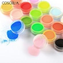 COSCELIA, акриловая пудра для ногтей, блеск, окунание, 18 цветов, пудра для ногтей, художественная пудра, пыль, акриловый набор для дизайна ногтей