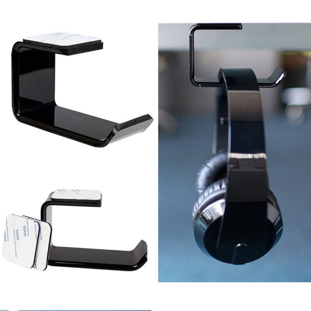 Space Saving Sticker Acrylic Headphone Hanger Bracket Wall Mounted Headset Holder Under Desk Hook Earphone Sticky Display Stand