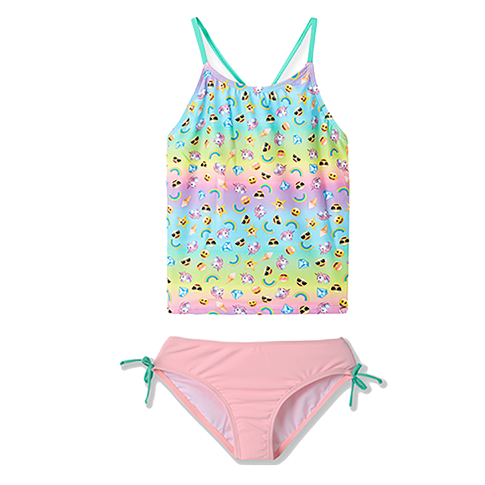 Two Piece Swimsuit TAKINI Set Swimsuit For Kid Girls The Rainbow Stripe Cute Little Pattern Print Bathing Suit