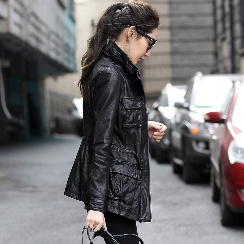 100% Geniune Leather Jacket For Women Sheepskin Leather Slim Windbreaker Spring Autumn Jaqueta De Couro OT1716 MF164