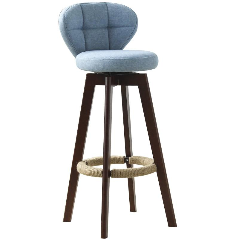 New European Bamboo Solid Wood Elm Bar Chair Retro Color  Rotate  Stool     Front  High