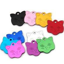 Atacado 100 pces gato rosto placa de identificação tag alumínio personalizado gatinho anti-perdido para coleira de cachorro pet cão id tags gravura
