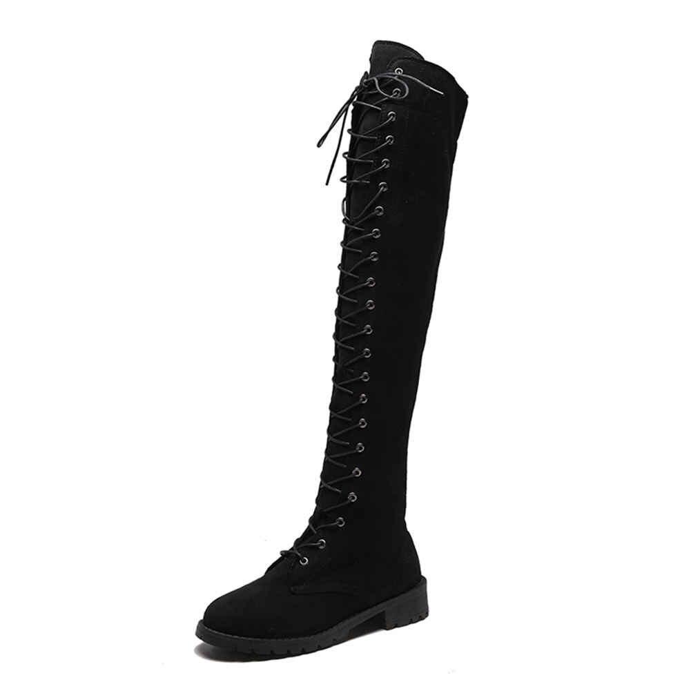 Karinluna 2019 büyük boy 43 rahat çapraz ayakkabı bağı sonbahar ayakkabı kadın botları kadın ayakkabısı binici çizmeleri ayakkabı kadın