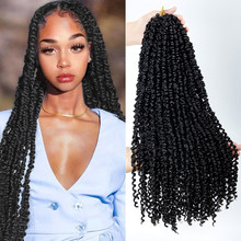 22inches Pre-looped Fluffy Crochet Braid Hair Ombre Synthetic Braiding Hair 15strands Pre Twisted Passion Twist Crochet Hair