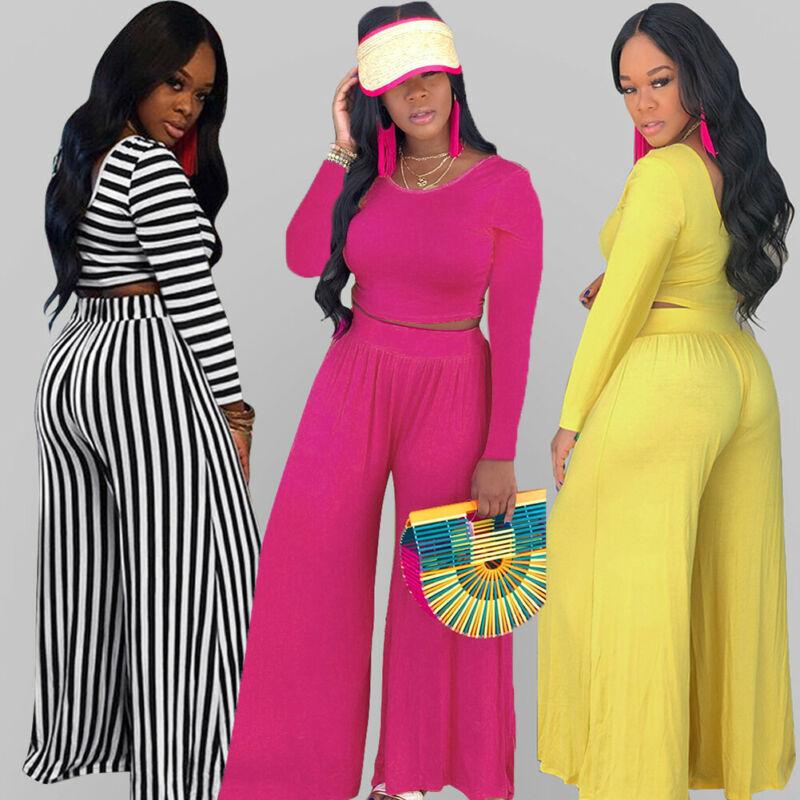 Retro Fashion Women Suit 2pcs Ladies Casual Crop Top Long Pants Set Two Piece Outfits Jumpsuit Playsuit Overall Plus Size Hot