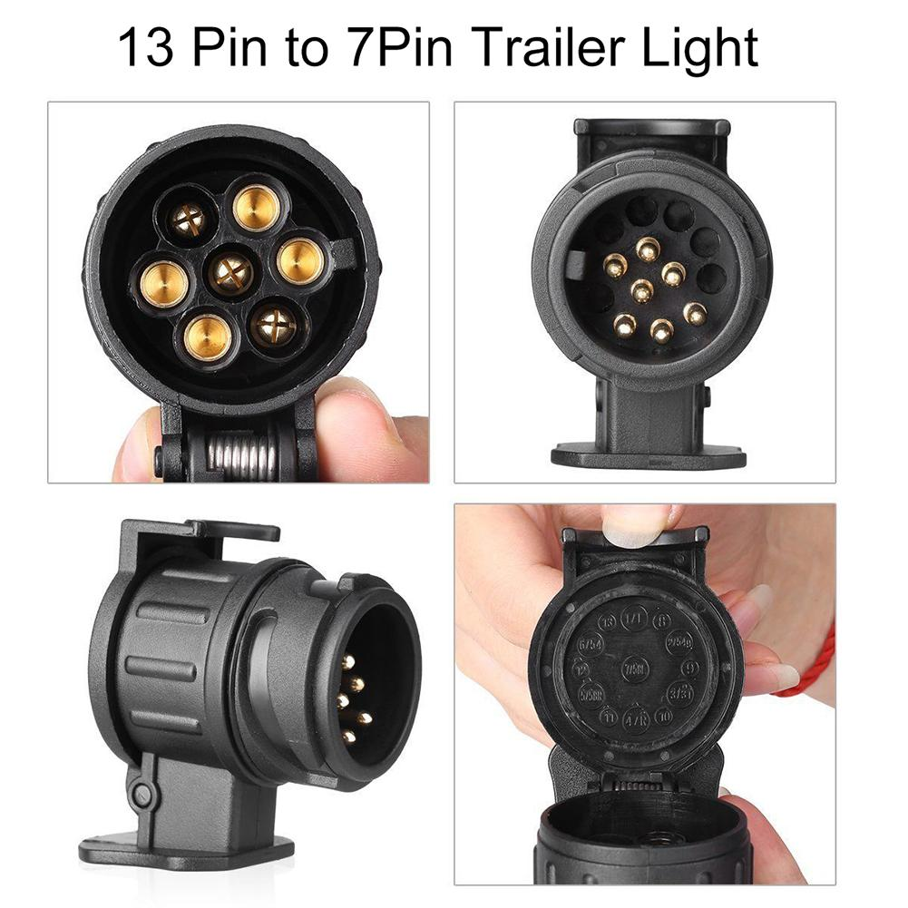 Waterproof 13 To 7 Pin Plug Trailer Truck Electric Adapter Towbar Towing Socket